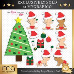 Christmas Baby Boy Clipart Set - MG Exclusive Sets - Mygrafico.com