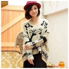 Catworld Batwing Sleeve Reindeer Jacquard Sweater