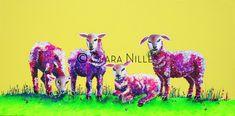 Lavender Lambs on Lemon 12x24 Acrylic on Canvas SOLD Lambs, Moose Art, Lavender, Canvas, Artist, Animals, Tela, Animales, Animaux