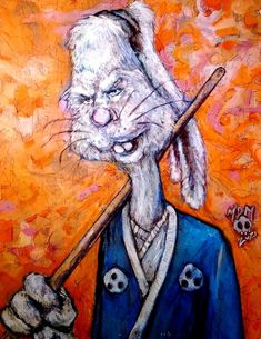 A little different spin on this tmnt character. Usagi Yojimbo created on a 8 x 10 canvas board with acrylic paint, some sharpie, and ink. Selling the original framed and ready to hang for $100 Tmnt Characters, Usagi Yojimbo, Canvas Board, Sharpie, Spin, Muse, The Originals, Painting, Art