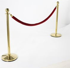 """Set of (2) 39"""" Brass Stanchion Posts with 6.5' Burgundy Rope $96.42"""