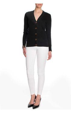 Kofta Simone Cotton Cardigan BLACK/GOLD - Tory Burch - Designers - Raglady