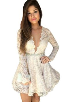 Gorgeous Deep V Neck Lace Skater Dress https://www.modeshe.com #modeshe @modeshe #White