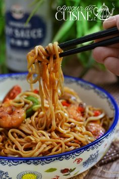 recipe for fried noodles with shrimps - Amour de cuisine Salmon Recipes, Asian Recipes, Ethnic Recipes, Healthy Dinner Recipes, Snack Recipes, Smoothie Recipes, Fried Noodles Recipe, Crockpot Recipes, Cooking Recipes
