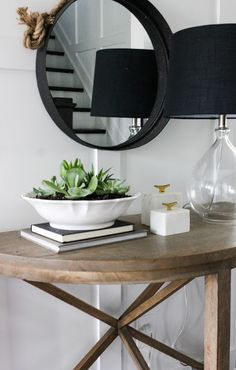NOTE: Idea to plant succulents in a white bowl/dish - Blogger Stylin Home Tour Fall 2015   .