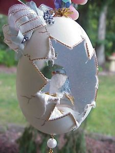 REAL Hand Decorated Carved Goose Egg Christmas Tree Bird Ornament Gift Swarovski