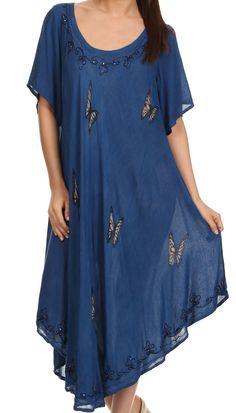 Sakkas Jana Butterfly Sequin Emroidered Cap Sleeves Caftan Dress / Cover Up