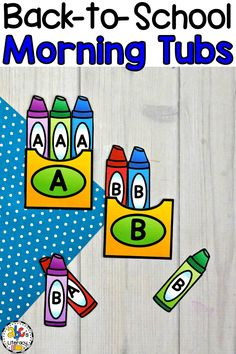 Are you looking for a new morning routine that will have your students entertained and engaged? These Back-To-School Morning Tubs for Preschool are fun, hands-on activities used to learn and review literacy and math concepts. This set of 6 literacy and 5 math morning tubs are perfect for children around the ages of 3-4. One activity included are these capital letter crayon box sorts. Click on the picture to learn more about these morning work activities! #morningtubs #preschool #morningwork
