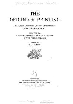 The Origin of Printing, Ferdinand Charles Lampe