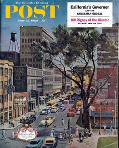 The cover of the June 25, 1960 issue of the Saturday Evening Post featuring an illustration of Peachtree Street. The view shows Peachtree Street looking south toward Harris Street and beyond. The Atlanta Merchandise Mart is under construction. Look closely and you'll see the Henry Grady Hotel rising behind the parking deck visible on the right. The Grady Hotel is long gone (the Peachtree Westin now stands on that site) but the parking deck remains.