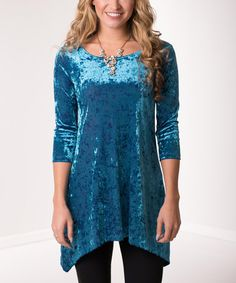 3254a23d3f80 Lbisse Turquoise Ice Velvet Scoop Neck Sidetail Tunic - Plus