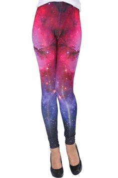Gradient Universe Print Leggings. Description These Leggings have been crafted from elastic fabric design, featuring brief styling with gradient universe print look design, a stretchy waist and all in a soft-touch stretch finish.  Fabric 95%Polyester,5%Spandex.  Washing 40 degree machine wash, do not bleach , do not tumble dry, do not dry clean. #Romwe