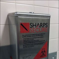 This is my first encounter of a Restroom Sharps Container for Safety in a facility outside a Hospital.The users of this Restroom must be one tough crowd. Retail Signs, Safety, Container, Security Guard, Canisters