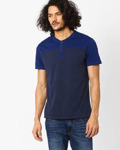 Buy Blue LEVIS Cotton Henley T-shirt | AJIO Levis, Casual Wear, Mens Tops, Cotton, T Shirt, How To Wear, Stuff To Buy, Blue, Shopping