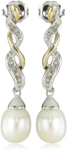 Samp;G Sterling Silver and 14k Yellow Gold Freshwater Cultured Pearl and Diamond Drop Earrings (0.06 cttw