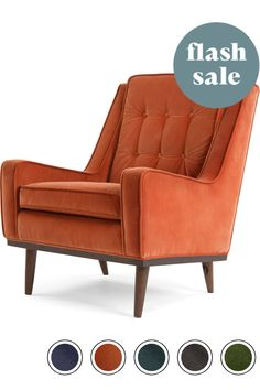 Made Armchair Burnt Orange Cotton Velvet Cecil Armchairs