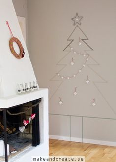 Washi tape christmas tree on wall - Pyssel & pysseltips - Make & Create