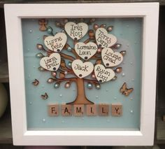 Details about Personalised Family tree Box Frame Scrabble Gift Mothers Day Wedding Anniversary Christmas Friends, Christmas Crafts, Christmas Wedding, Xmas, Christmas Travel, Christmas Ideas, Mothers Day Crafts, Crafts For Kids, Mothers Day Ideas