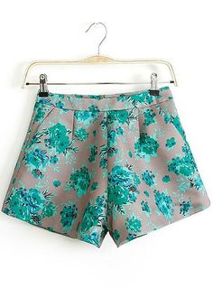 Green Pockets Floral Straight Shorts GBP£12.44