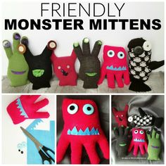 A Friendly Monster Mittens Craft. Whether you call them Mitten Monsters, Glove Buddies or even Monster Stuffies, they are a fun, easy craft for kids! Diy Gifts For Kids, Craft Projects For Kids, Easy Crafts For Kids, Diy For Kids, Sewing Projects, Art Projects, Sock Crafts, Preschool Crafts, Fun Crafts