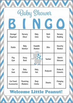 Elephant Baby Bingo Cards - Printable Download - Prefilled - Baby Shower Game for Boy - Blue & Gray