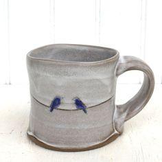 blue birds mug : Two Potters : handmade pottery