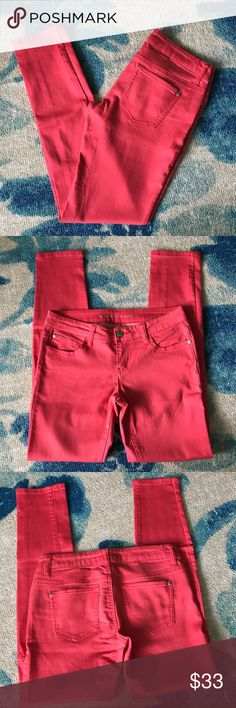 Celebrity Pink Coral Skinny Jeans Good condition. Size 7. Pink/coral color. Color varies in pictures. Inseam 30. Waist 15. Rise 8. 82% cotton 16% polyester 2% spandex. -::12:: Celebrity Pink Jeans Skinny