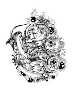 Black And White Pointillism Style Illustrations by Radomir Mudrinic, via Behance