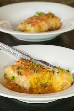 Vegetarian Cabbage Rolls recipe stuffed with Potato, Carrot, Broccoli and topped with a sauce. Recipe with step by step cooking instructions.