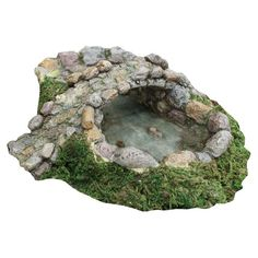 """Marshall Home and Garden """"Stone Pond and Bridge"""" Miniature Fairy Garden Accessory. Item UPC: 7 inches long by 7 inches wide by 2 inches high.Designed to set in the ground about 1 inches.Pond is decorated with two fish and one turtle. Fairy Garden Ornaments, Fairy Garden Houses, Gnome Garden, Lawn And Garden, Garden Pond, Garden Shrubs, Garden Art, Garden Frogs, Fairy Garden Supplies"""