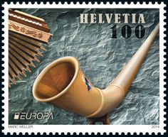 "Swiss special stamp: National music instruments – ""Alphorn"" www.post.ch/philashop"