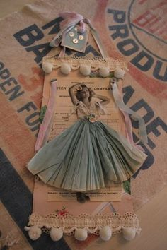 Shabby Chic Tag With Girl Wearing a Paper Skirt Atc Cards, Card Tags, Gift Tags, Bingo Cards, Paper Dolls, Art Dolls, Collage Kunst, Paper Art, Paper Crafts