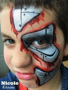 Disney Face Painting, Superhero Face Painting, Face Painting For Boys, Face Painting Designs, Body Painting, Superhero Makeup, Robot Makeup, Terminator Makeup, Boy Halloween Makeup