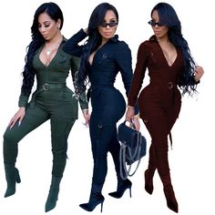 ef9b8730404c Womens Long Sleeves V Neck Army Bodycon Clubwear Party Jumpsuit Rompers  Sport