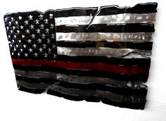 Firefighter Thin Red Line Distressed American Flag Fluid Metal Sign