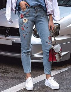 Flower Embroidery Jeans Blue High Waist Casual Slim Denim Pants