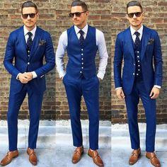 Stylish blue groomsmen suits ideas 12