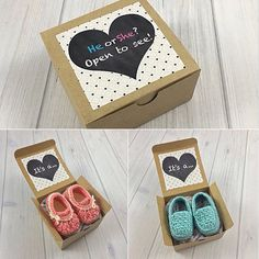 A boxed baby gender reveal is the perfect way to share the happy news with loved ones! Choose pink slippers or blue loafers to perfect this announcement, add a personalized message and Ill send it directly to your recipient! These boxes can be purchased individually or in pairs. Please select your option under the Gender variation. These shoes are size 0-3 months and are presented inside a 4x4 inch box. If youd like to send me your results at a later date select the Single or Two Box UNKNOWN…