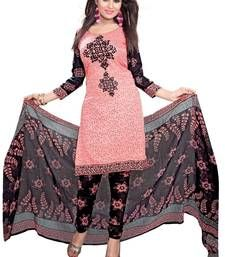 Buy Peach printed Crepe unstitched salwar with dupatta dress-material online