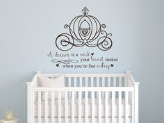 Cinderella A dream is a wish your heart makes quote vinyl wall decal girls room baby nursery princess on Etsy, $34.00