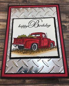 Happy Birthday – Masculine Birthday Card – Country Birthday Card – Apples – Old Truck – Vintage Truck – Diamond Plate – Birthday Card - Geburtstag Unique Birthday Cards, Homemade Birthday Cards, Masculine Birthday Cards, Birthday Cards For Men, Masculine Cards, Homemade Cards, Happy Birthday Vintage, Happy Birthday Man, Country Birthday