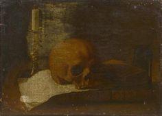 Ecole FRANCAISE vers 1650, entourage de Jacques LINARD. Vanité au crâne. Toile. 37 x 46 cm. Sans cadre