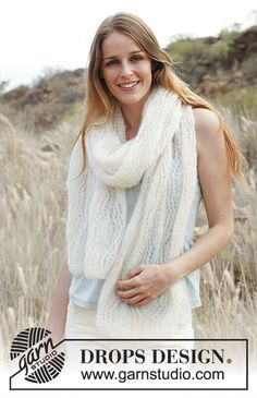 Soft embrace / DROPS 146-25 - Knitted DROPS scarf with lace pattern in Vivaldi or Brushed Alpaca Silk .