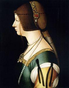 attrib. to Giovanni Ambrogio de Predis (c. 1455 – c. 1508) Bianca Maria Sforza (1471-1510) daughter of the Duke of Milan