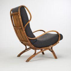 Gio Ponti; Rattan 'Continuum' Lounge Chair for Pierantonio Bonacina, 1963.