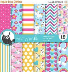 80% OFF Venta unicornio bebé de papel digital, unicornio bebé comercial utiliza, papeles de scrapbook, Fondo, álbum de recortes-PS778
