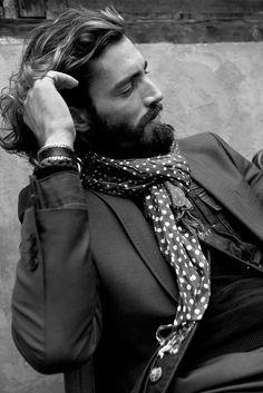 Polka dot scarf, denim vest, silk suit.  ZsaZsa Bellagio – Like No Other: Cool Factor