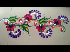 Beautiful and attractive unique border rangoli design by Jyoti Raut Rangoli Simple Rangoli Border Designs, Easy Rangoli Designs Diwali, Indian Rangoli Designs, Rangoli Designs Flower, Rangoli Borders, Small Rangoli Design, Rangoli Patterns, Colorful Rangoli Designs, Rangoli Ideas