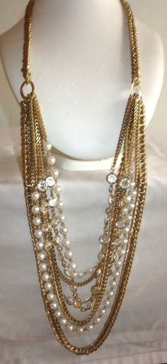 "VINTAGE 34-40"" GOLDTONE MULTI STRAND TS SIGNED RUNWAY NECKLACE/EXTRA HEAVYWEIGHT"
