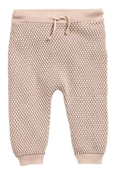 Textured-knit Pants in Powder pink @ H&M